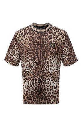 Мужская хлопковая футболка DOLCE & GABBANA леопардового цвета, арт. G8MP5T/HS7EE | Фото 1