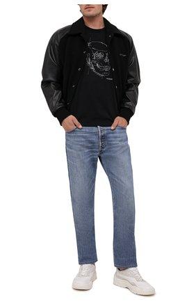 Мужская хлопковая футболка ALEXANDER MCQUEEN черного цвета, арт. 666623/QRZ7A | Фото 2