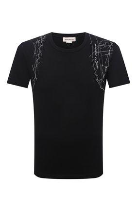 Мужская хлопковая футболка ALEXANDER MCQUEEN черного цвета, арт. 666622/QRZ6A | Фото 1 (Материал внешний: Хлопок; Длина (для топов): Стандартные; Рукава: Короткие; Стили: Кэжуэл; Принт: С принтом)