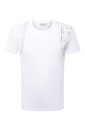 Мужская хлопковая футболка ALEXANDER MCQUEEN белого цвета, арт. 666622/QRZ6A | Фото 1 (Материал внешний: Хлопок; Длина (для топов): Стандартные; Стили: Кэжуэл; Рукава: Короткие; Принт: С принтом)