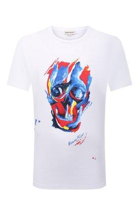 Мужская хлопковая футболка ALEXANDER MCQUEEN белого цвета, арт. 666612/QRZ91 | Фото 1