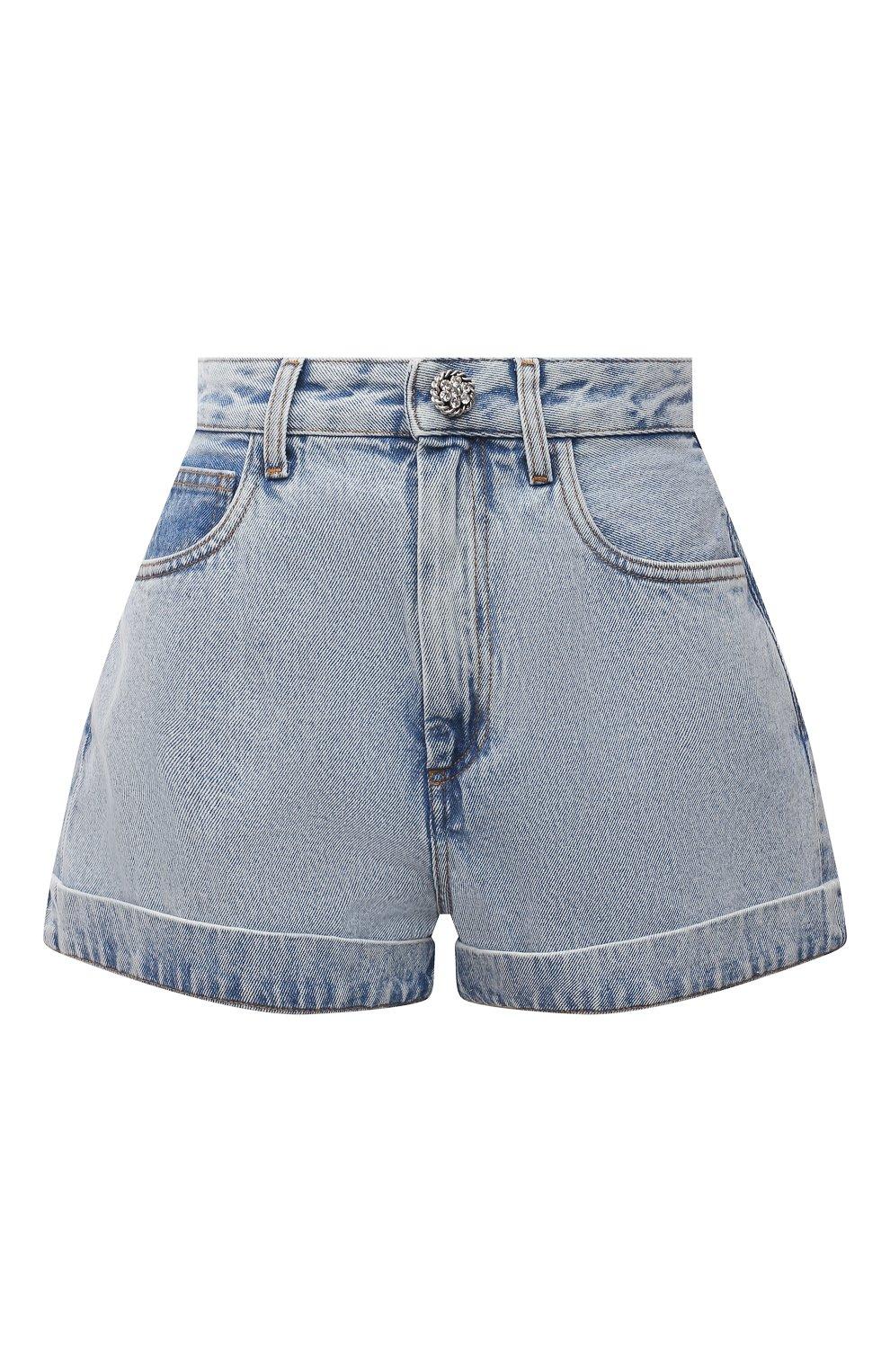 Женские джинсовые шорты ALESSANDRA RICH голубого цвета, арт. FAB2446-F3043 | Фото 1 (Женское Кросс-КТ: Шорты-одежда; Кросс-КТ: Деним; Длина Ж (юбки, платья, шорты): Мини; Стили: Гранж; Материал внешний: Хлопок)