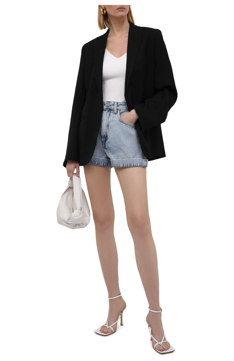 Женские джинсовые шорты ALESSANDRA RICH голубого цвета, арт. FAB2446-F3043 | Фото 2 (Женское Кросс-КТ: Шорты-одежда; Кросс-КТ: Деним; Длина Ж (юбки, платья, шорты): Мини; Стили: Гранж; Материал внешний: Хлопок)