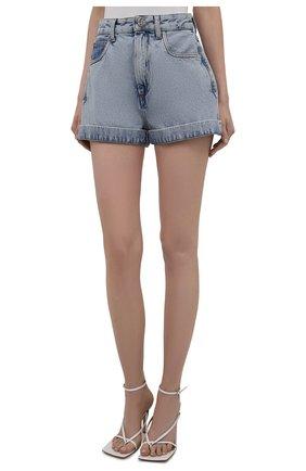 Женские джинсовые шорты ALESSANDRA RICH голубого цвета, арт. FAB2446-F3043 | Фото 3 (Женское Кросс-КТ: Шорты-одежда; Кросс-КТ: Деним; Длина Ж (юбки, платья, шорты): Мини; Стили: Гранж; Материал внешний: Хлопок)