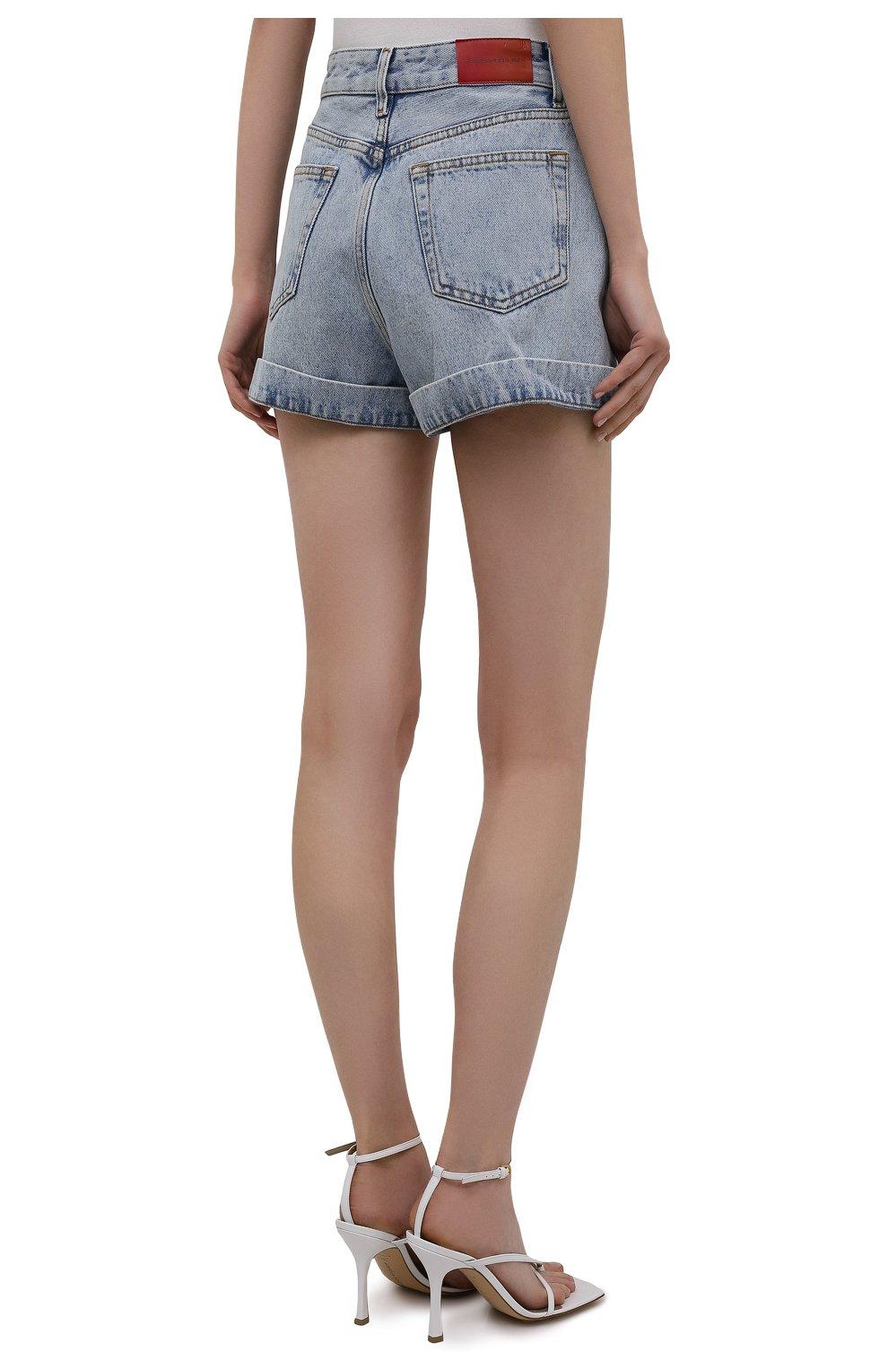 Женские джинсовые шорты ALESSANDRA RICH голубого цвета, арт. FAB2446-F3043 | Фото 4 (Женское Кросс-КТ: Шорты-одежда; Кросс-КТ: Деним; Длина Ж (юбки, платья, шорты): Мини; Стили: Гранж; Материал внешний: Хлопок)