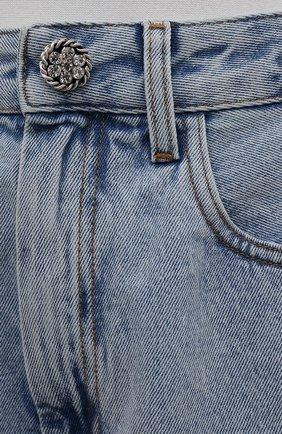 Женские джинсовые шорты ALESSANDRA RICH голубого цвета, арт. FAB2446-F3043 | Фото 5 (Женское Кросс-КТ: Шорты-одежда; Кросс-КТ: Деним; Длина Ж (юбки, платья, шорты): Мини; Стили: Гранж; Материал внешний: Хлопок)