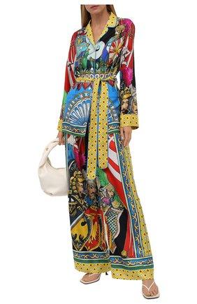 Женские шелковые брюки DOLCE & GABBANA разноцветного цвета, арт. FTAMPT/GDS12 | Фото 2 (Длина (брюки, джинсы): Стандартные; Материал внешний: Шелк; Силуэт Ж (брюки и джинсы): Широкие; Женское Кросс-КТ: Брюки-одежда; Стили: Романтичный)