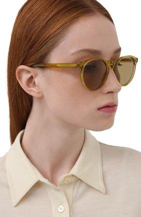 Женские солнцезащитные очки LORO PIANA желтого цвета, арт. FAL0261   Фото 2 (Тип очков: С/з; Очки форма: Круглые)