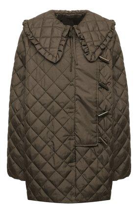 Женская стеганая куртка GANNI хаки цвета, арт. F5812 | Фото 1