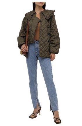 Женская стеганая куртка GANNI хаки цвета, арт. F5812 | Фото 2