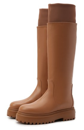 Женские кожаные сапоги stivale ranger LE SILLA светло-коричневого цвета, арт. 6492T020M1PPCHI   Фото 1
