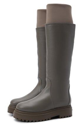 Женские кожаные сапоги stivale ranger LE SILLA серого цвета, арт. 6492T020M1MMCHI   Фото 1