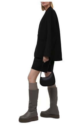 Женские кожаные сапоги stivale ranger LE SILLA серого цвета, арт. 6492T020M1MMCHI   Фото 2