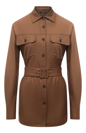 Женская шерстяная рубашка KITON коричневого цвета, арт. D52422K01X48   Фото 1