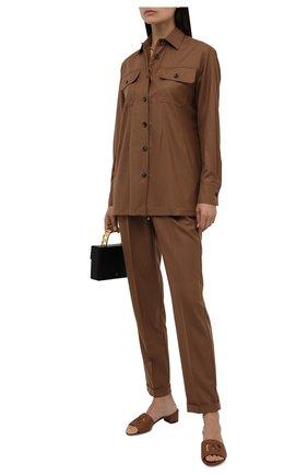 Женская шерстяная рубашка KITON коричневого цвета, арт. D52422K01X48   Фото 2