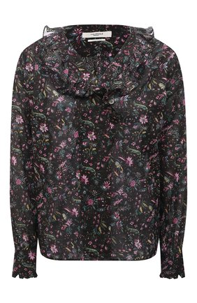 Женская хлопковая блузка ISABEL MARANT ETOILE разноцветного цвета, арт. HT1820-21A027E/PAMIAS   Фото 1 (Материал внешний: Хлопок; Длина (для топов): Стандартные; Стили: Романтичный; Женское Кросс-КТ: Блуза-одежда; Рукава: Длинные; Принт: С принтом)