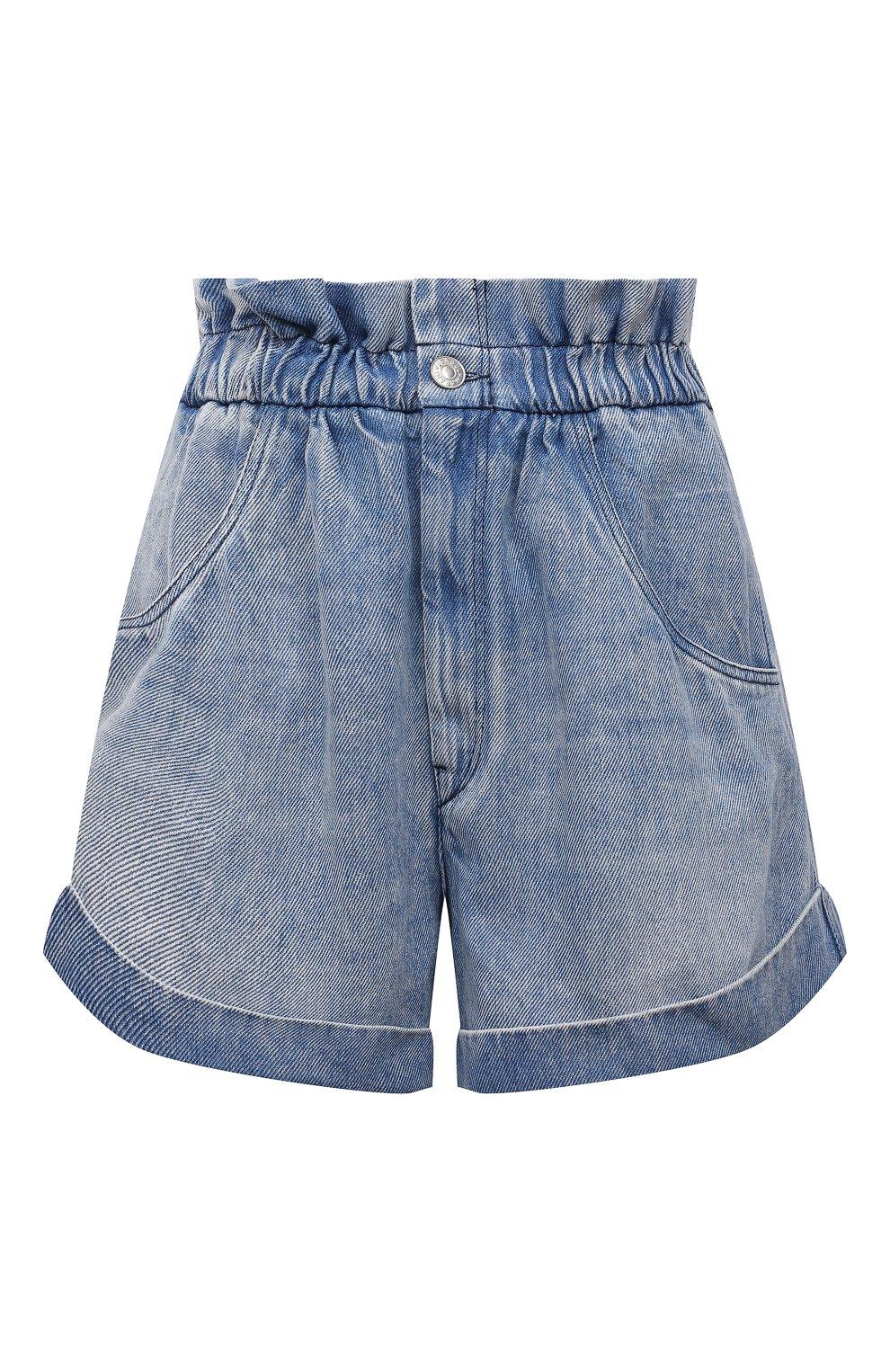 Женские джинсовые шорты ISABEL MARANT ETOILE голубого цвета, арт. SH0314-21A019E/ITEA   Фото 1 (Женское Кросс-КТ: Шорты-одежда; Кросс-КТ: Деним; Длина Ж (юбки, платья, шорты): Мини; Стили: Гранж; Материал внешний: Лиоцелл)