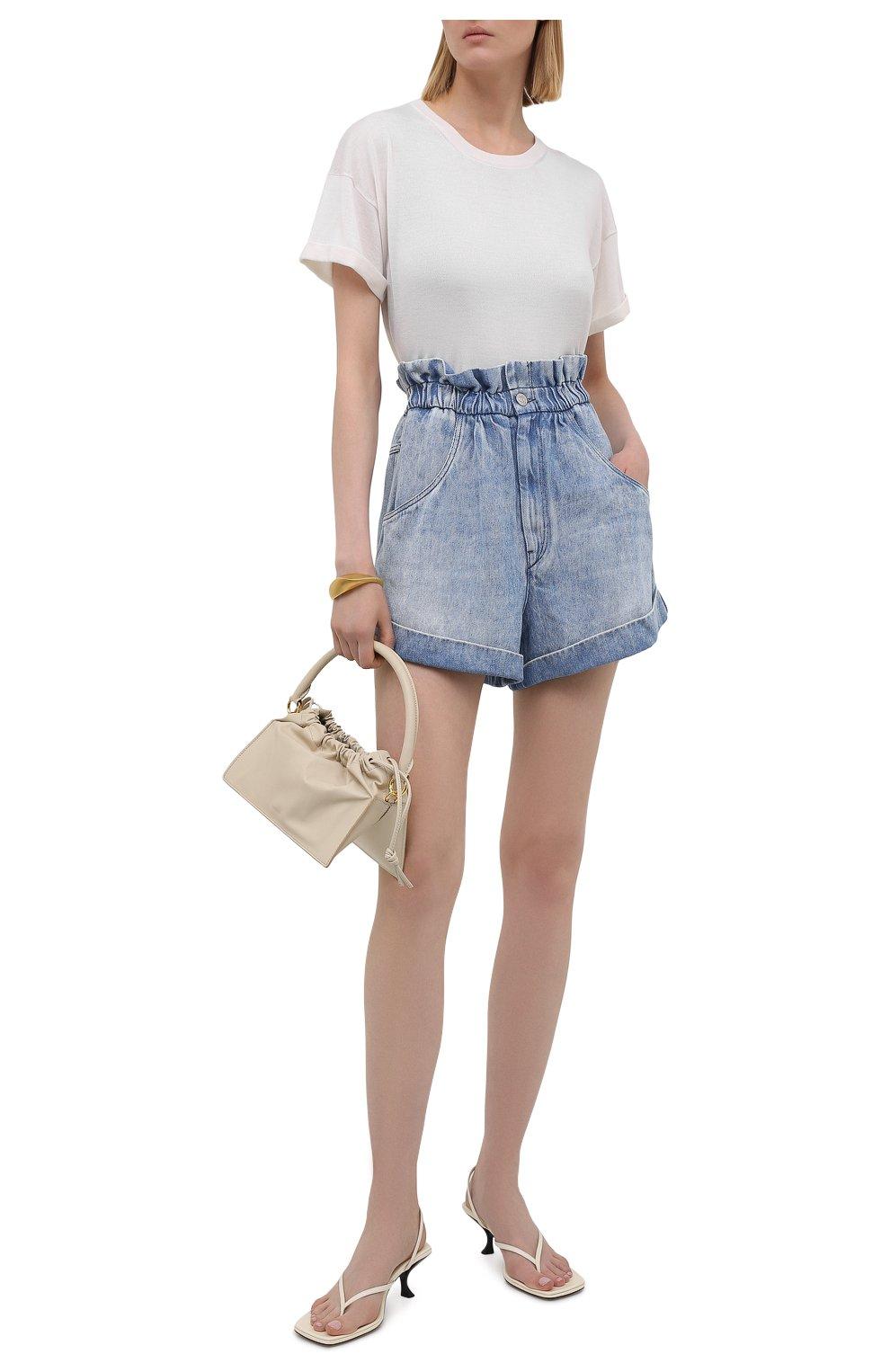 Женские джинсовые шорты ISABEL MARANT ETOILE голубого цвета, арт. SH0314-21A019E/ITEA   Фото 2 (Женское Кросс-КТ: Шорты-одежда; Кросс-КТ: Деним; Длина Ж (юбки, платья, шорты): Мини; Стили: Гранж; Материал внешний: Лиоцелл)