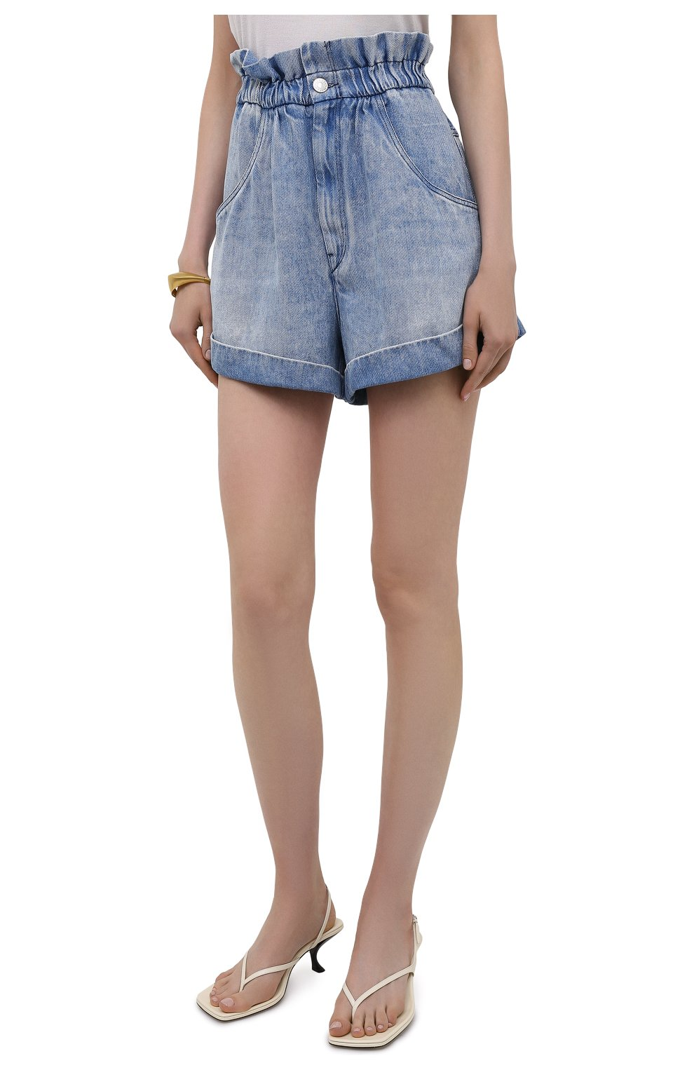 Женские джинсовые шорты ISABEL MARANT ETOILE голубого цвета, арт. SH0314-21A019E/ITEA   Фото 3 (Женское Кросс-КТ: Шорты-одежда; Кросс-КТ: Деним; Длина Ж (юбки, платья, шорты): Мини; Стили: Гранж; Материал внешний: Лиоцелл)