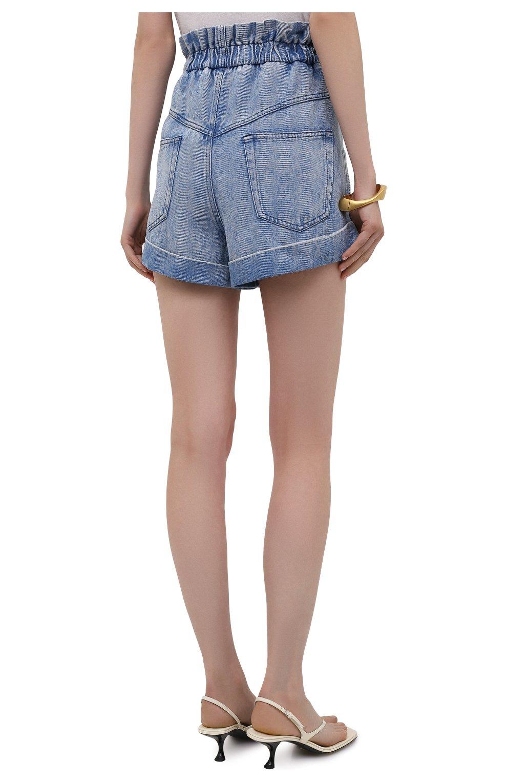 Женские джинсовые шорты ISABEL MARANT ETOILE голубого цвета, арт. SH0314-21A019E/ITEA   Фото 4 (Женское Кросс-КТ: Шорты-одежда; Кросс-КТ: Деним; Длина Ж (юбки, платья, шорты): Мини; Стили: Гранж; Материал внешний: Лиоцелл)
