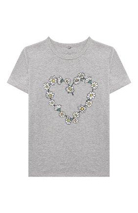 Детская хлопковая футболка STELLA MCCARTNEY серого цвета, арт. 602652/SQJG6 | Фото 1