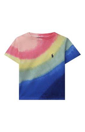 Детская хлопковая футболка POLO RALPH LAUREN разноцветного цвета, арт. 311841394   Фото 1 (Материал внешний: Хлопок; Девочки Кросс-КТ: футболка-одежда; Рукава: Короткие; Ростовка одежда: 2 года   92 см, 3 года   98 см)