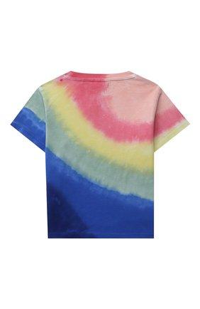Детская хлопковая футболка POLO RALPH LAUREN разноцветного цвета, арт. 311841394   Фото 2 (Материал внешний: Хлопок; Девочки Кросс-КТ: футболка-одежда; Рукава: Короткие; Ростовка одежда: 2 года   92 см, 3 года   98 см)