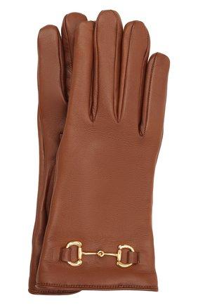 Женские кожаные перчатки GUCCI коричневого цвета, арт. 603635/BAP00 | Фото 1