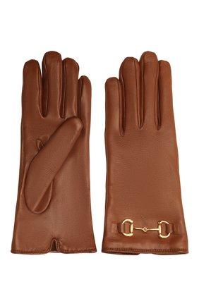 Женские кожаные перчатки GUCCI коричневого цвета, арт. 603635/BAP00 | Фото 2