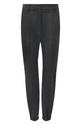 Женские шерстяные брюки ALEXANDER MCQUEEN серого цвета, арт. 663861/QJACH | Фото 1 (Материал внешний: Шерсть; Длина (брюки, джинсы): Стандартные; Стили: Кэжуэл; Женское Кросс-КТ: Брюки-одежда; Силуэт Ж (брюки и джинсы): Джоггеры)