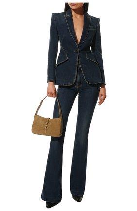 Женские джинсы ALEXANDER MCQUEEN темно-синего цвета, арт. 628062/QMABH | Фото 2