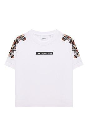 Детская хлопковая футболка BURBERRY белого цвета, арт. 8041212 | Фото 1