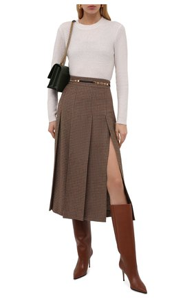 Женские кожаные сапоги stivale eva 90 LE SILLA коричневого цвета, арт. 2100T080R1PPMIN   Фото 2