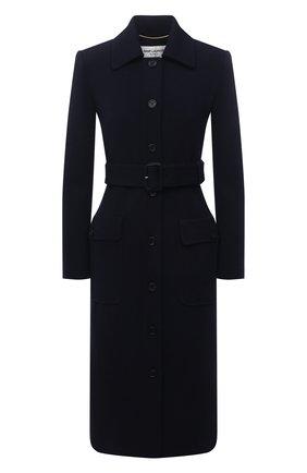 Женское шерстяное пальто SAINT LAURENT темно-синего цвета, арт. 658324/Y288V | Фото 1 (Материал внешний: Шерсть; Материал подклада: Шелк; Рукава: Длинные; 1-2-бортные: Однобортные; Стили: Кэжуэл; Длина (верхняя одежда): Длинные)