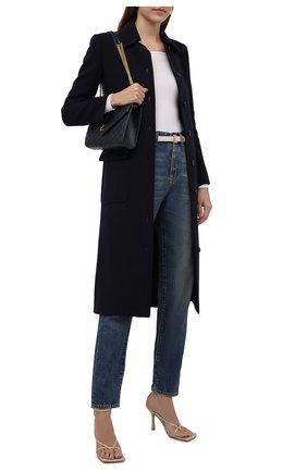Женское шерстяное пальто SAINT LAURENT темно-синего цвета, арт. 658324/Y288V | Фото 2 (Материал внешний: Шерсть; Материал подклада: Шелк; Рукава: Длинные; 1-2-бортные: Однобортные; Стили: Кэжуэл; Длина (верхняя одежда): Длинные)