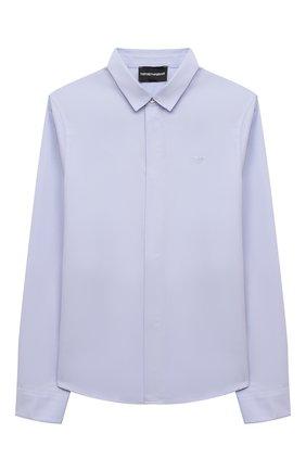 Детская хлопковая рубашка EMPORIO ARMANI голубого цвета, арт. 6K4CN5/4N5SZ | Фото 1