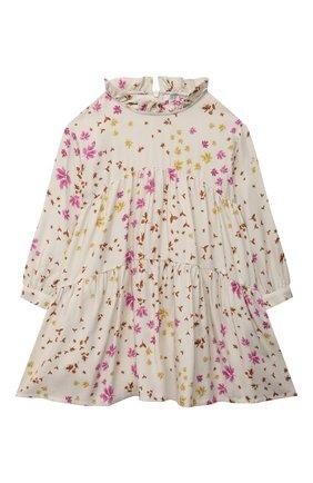 Детское платье из вискозы IL GUFO бежевого цвета, арт. A21VL449R4001/2A-4A | Фото 1