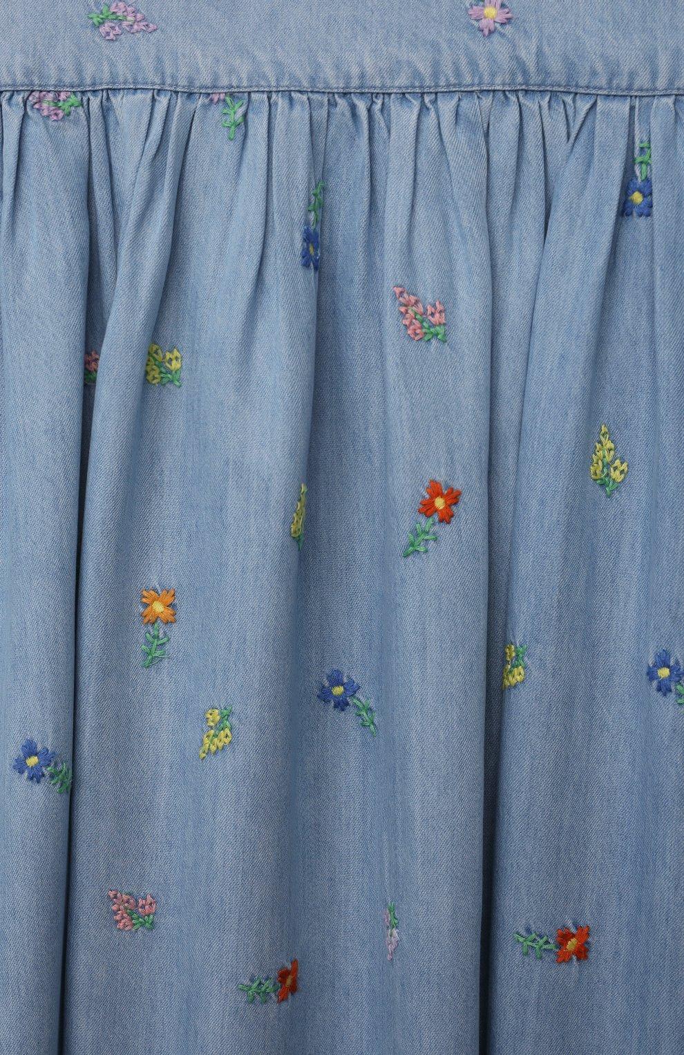 Детское платье STELLA MCCARTNEY голубого цвета, арт. 602767/SQKD1 | Фото 3 (Случай: Повседневный; Материал внешний: Лиоцелл; Рукава: Без рукавов; Ростовка одежда: 10 - 11 лет | 140 - 146см, 12 лет | 152 см, 13 - 15 лет | 158 см, 2 года | 92 см, 3 года | 98 см, 4 года | 104 см, 5 лет | 110 см, 6 лет | 116 см, 8 лет | 128 см)