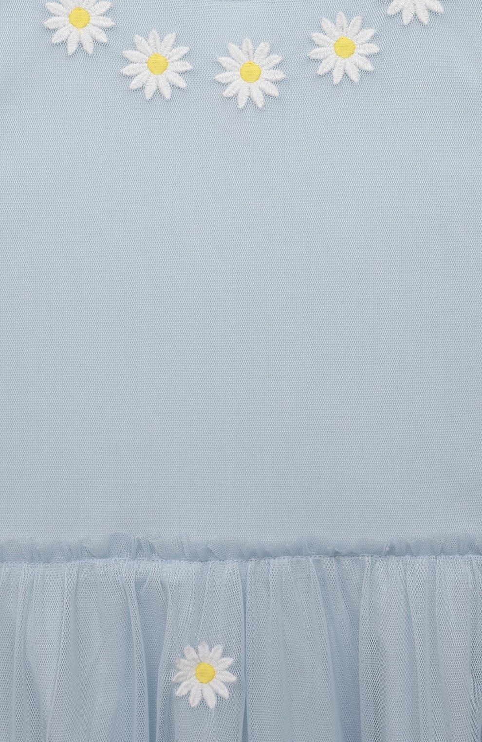 Детское платье STELLA MCCARTNEY голубого цвета, арт. 602757/SQKC4 | Фото 3 (Рукава: Короткие; Случай: Повседневный; Материал внешний: Синтетический материал; Девочки Кросс-КТ: Платье-одежда; Материал подклада: Хлопок; Ростовка одежда: 10 - 11 лет | 140 - 146см, 12 лет | 152 см, 13 - 15 лет | 158 см, 16 лет | 164 см, 2 года | 92 см, 3 года | 98 см, 4 года | 104 см, 5 лет | 110 см, 6 лет | 116 см, 8 лет | 128 см)