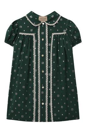 Женский платье из хлопка и вискозы GUCCI зеленого цвета, арт. 654176/ZAG3E   Фото 1