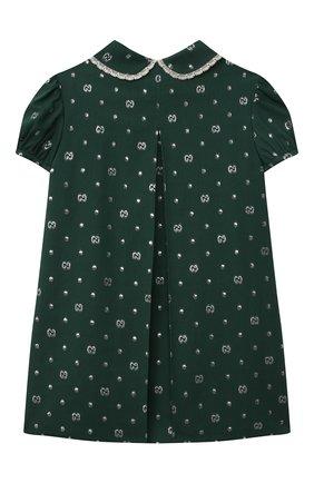 Женский платье из хлопка и вискозы GUCCI зеленого цвета, арт. 654176/ZAG3E   Фото 2