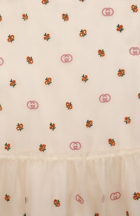Детское шелковое платье GUCCI белого цвета, арт. 662567/ZAHBE   Фото 3 (Материал внешний: Шелк; Рукава: Длинные; Случай: Повседневный; Девочки Кросс-КТ: Платье-одежда; Материал подклада: Хлопок; Ростовка одежда: 10 - 11 лет   140 - 146см, 12 лет   152 см, 4 года   104 см, 5 лет   110 см, 6 лет   116 см, 9 лет   134 см)