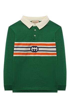 Детский хлопковый пуловер GUCCI зеленого цвета, арт. 660749/XJDJ4 | Фото 1