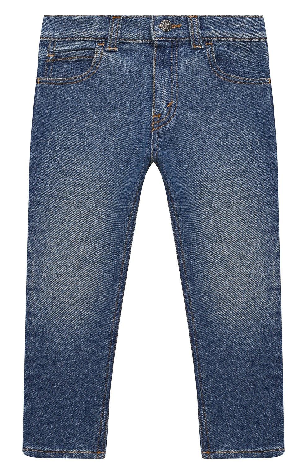 Детские джинсы GUCCI темно-синего цвета, арт. 657868/XDBP0 | Фото 1 (Материал внешний: Хлопок; Ростовка одежда: 12 мес | 80 см, 18 мес | 86 см, 24 мес | 92 см, 36 мес | 98 см)