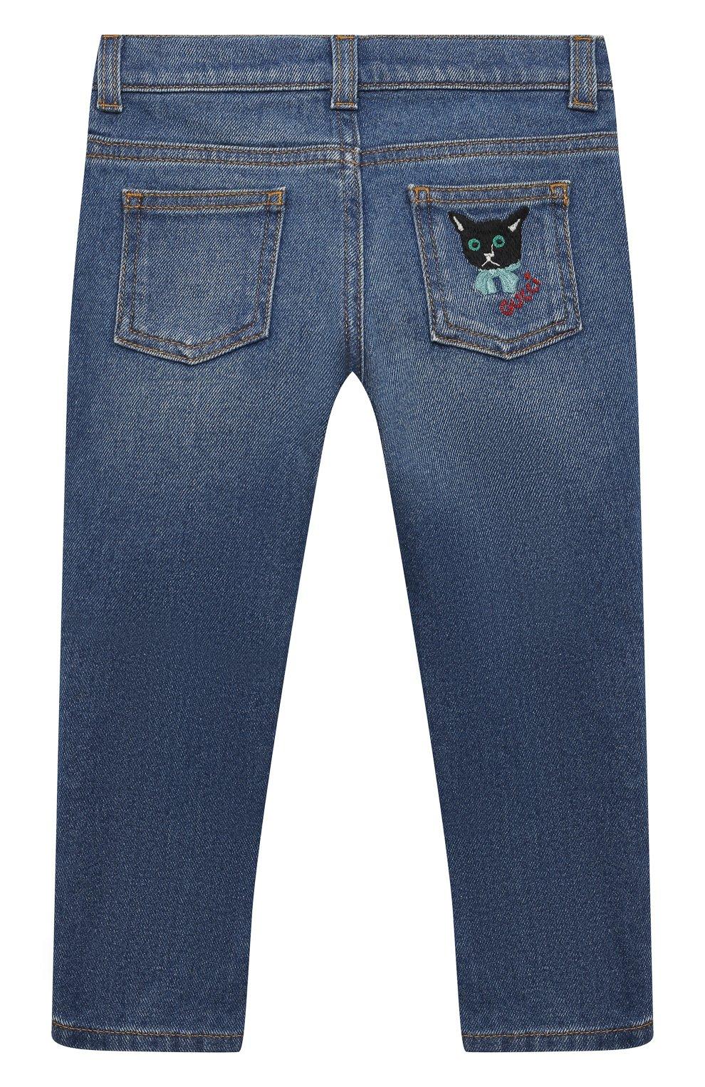 Детские джинсы GUCCI темно-синего цвета, арт. 657868/XDBP0 | Фото 2 (Материал внешний: Хлопок; Ростовка одежда: 12 мес | 80 см, 18 мес | 86 см, 24 мес | 92 см, 36 мес | 98 см)