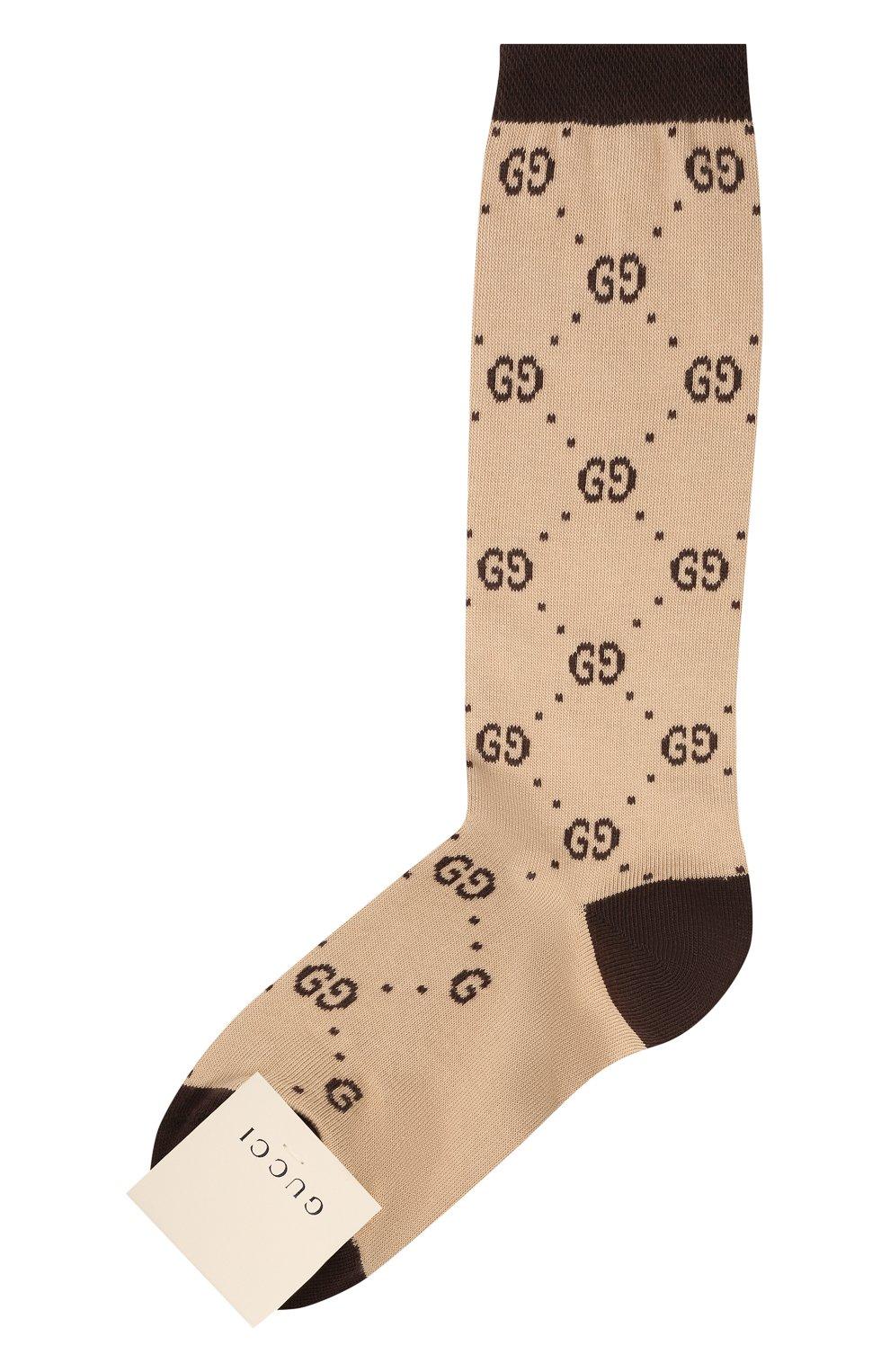 Детские хлопковые гольфы GUCCI коричневого цвета, арт. 503509/4K541   Фото 1 (Материал: Текстиль, Хлопок)