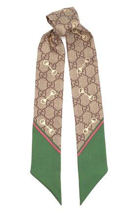 Женский шелковый платок GUCCI зеленого цвета, арт. 663719/3G001 | Фото 1