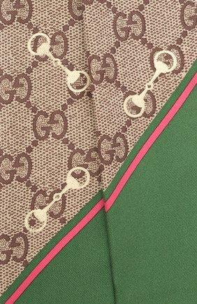 Женский шелковый платок GUCCI зеленого цвета, арт. 663719/3G001 | Фото 2