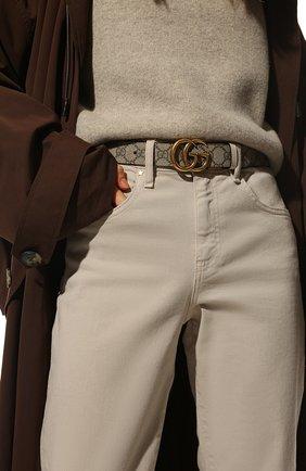Женский ремень GUCCI бежевого цвета, арт. 659417/92TIC   Фото 2 (Материал: Текстиль, Синтетический материал)