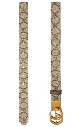 Женский ремень GUCCI коричневого цвета, арт. 659417/92TIC   Фото 2 (Материал: Текстиль, Синтетический материал)